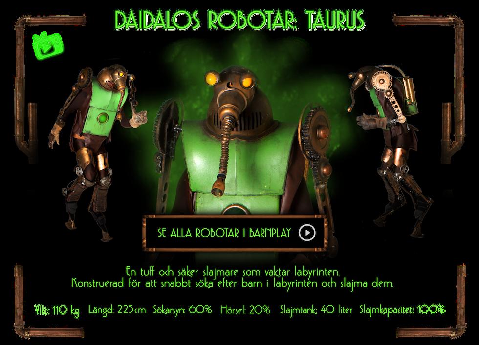 Bild med information om Taurus och länk till robotklipp i Barnplay.