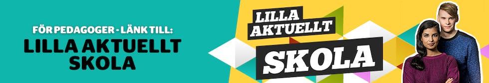 Bild med texten: För pedagoger - Länk till: Lilla Aktuellt Skola samt en vild på programledarna Aida och Frasse.