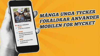 Unga: Föräldrar använder mobilen för mycket! Hand som håller mobil