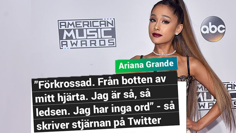 Ariana Grande skriver att hon är jätteledsen över det som hänt.