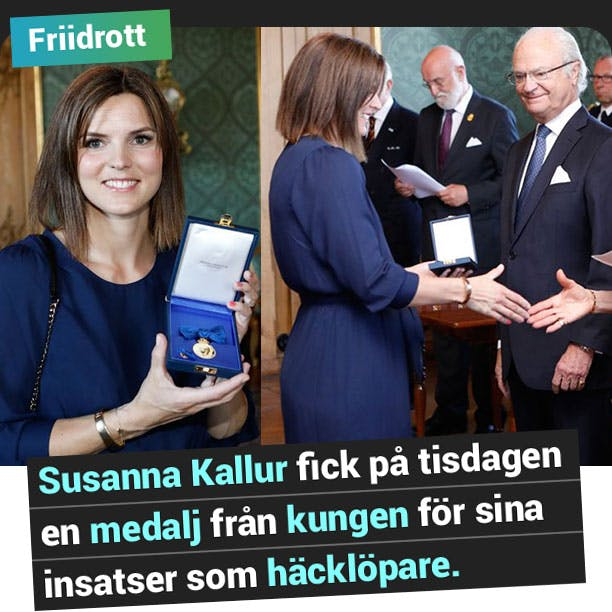Susanna Kallur fick på tisdagen en medalj från kungen för sina insatser som häcklöpare