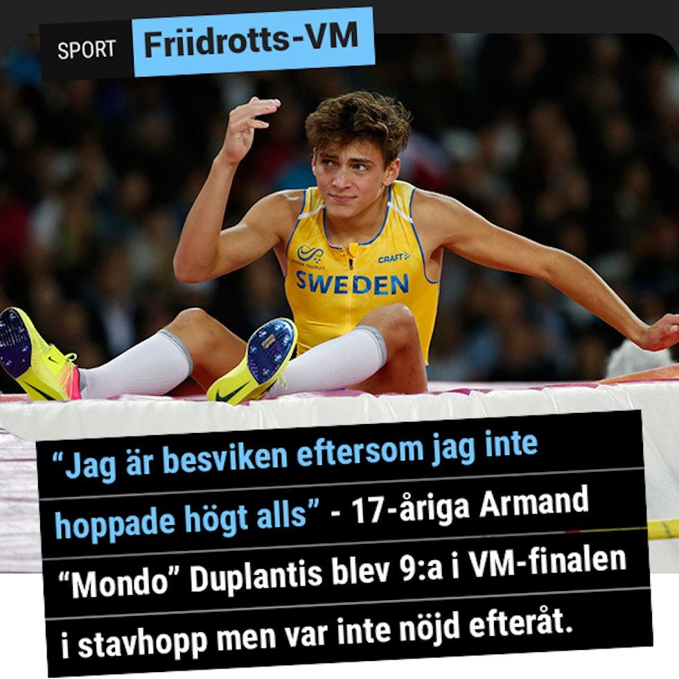 Armand Duplantis blev 9:a i VM i stavhopp