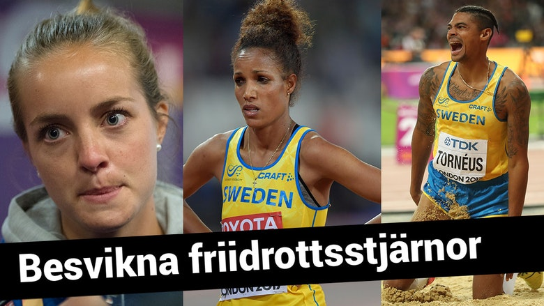 Besvikna friidrottsstjärnor - Lovisa Lindh, Meraf Bahta och Michel Tornéus. (Foto: TT)