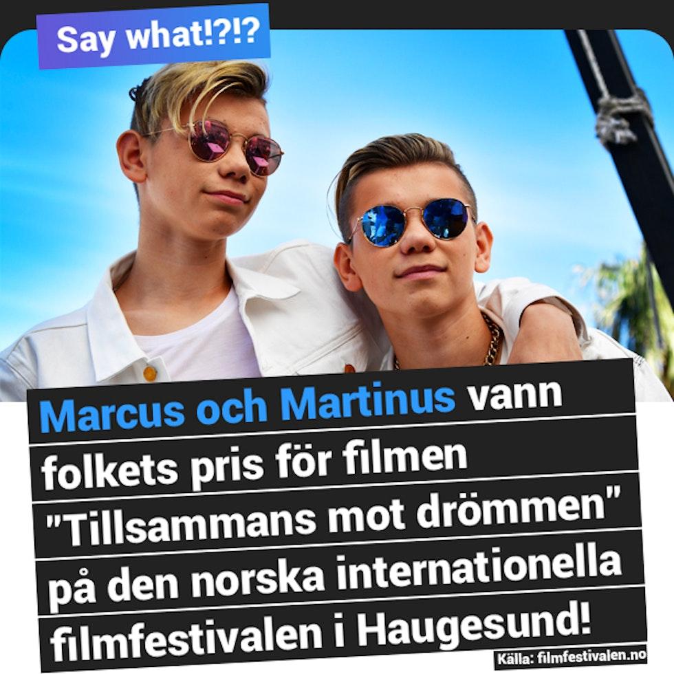 Marcus och Martinus vann folkets pris på sin film på filmfestival i Norge!