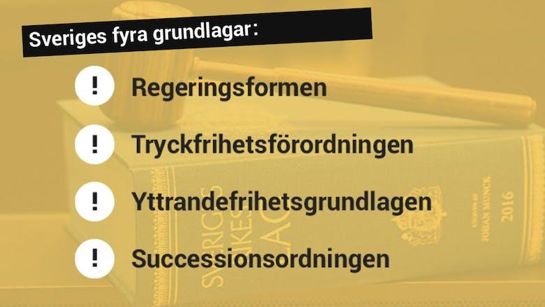 Sveriges fyra grundlagar:  1. Regeringsformen     2. Tryckfrihetsförordningen     3. Yttrandefrihetsgrundlagen     4. Successionsordningen