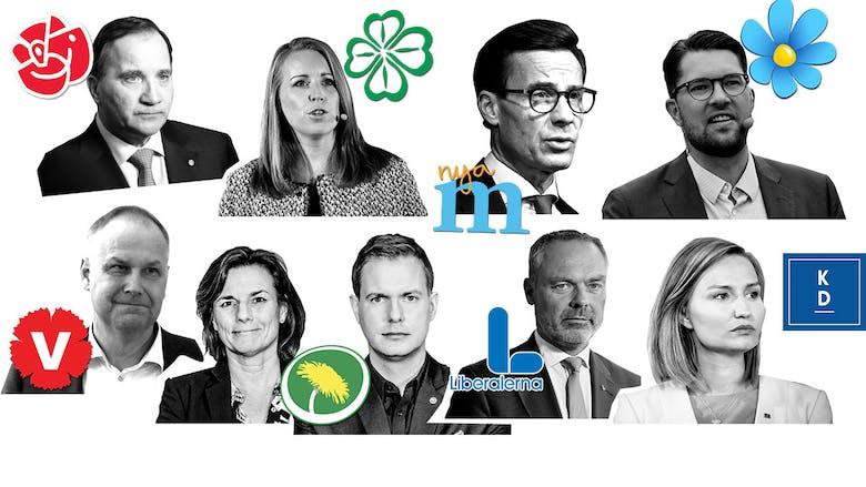 Bilder på partiledarna och deras partiloggor
